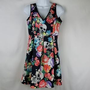 Iron Fist Fully Lined Floral/Skull Print Dress MD